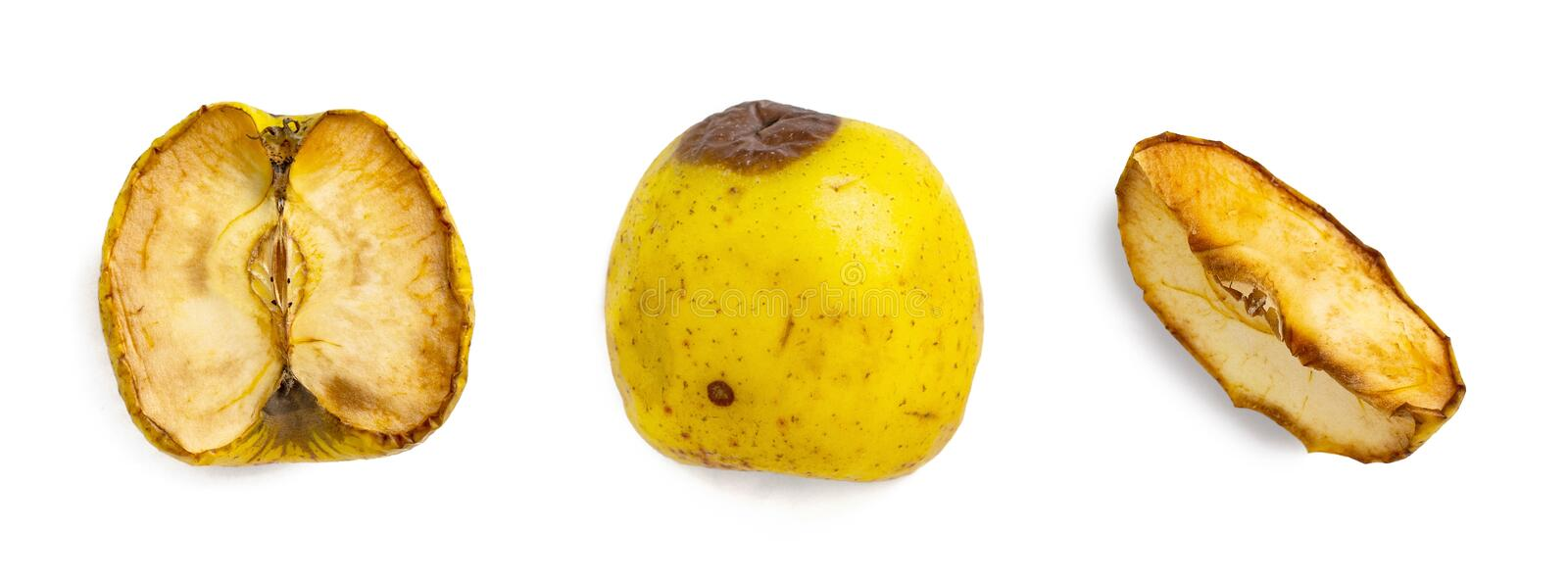 Set of spoiled apple or rotting apple isolated on white background stock photo