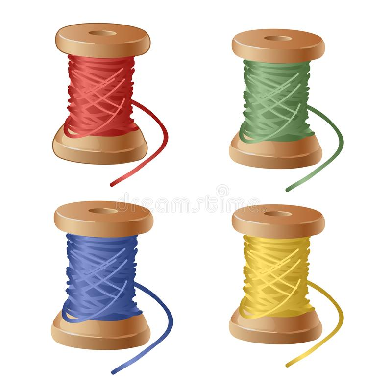 Set of spool of cartoon colorful thread. Equipment sewing workshop isolated on white background. Vector close-up royalty free illustration
