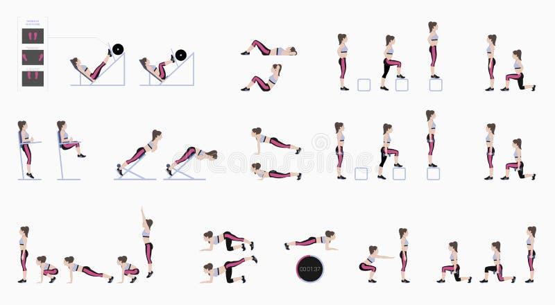 Set sportów ćwiczenia Ćwiczenia z bezpłatnym ciężarem Ćwiczenia w gym Noga podnosi, kucnięcia, UPS, Burpee, deska, Lunges, siedzi royalty ilustracja