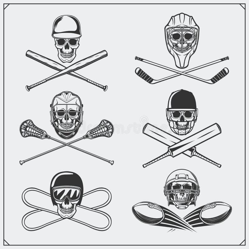 Set sportów emblematy: lodowy hokej, lacrosse, baseball, futbol, krykiet i jazda na snowboardzie, ilustracja wektor