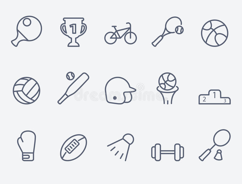 Set 15 sportów ikon royalty ilustracja