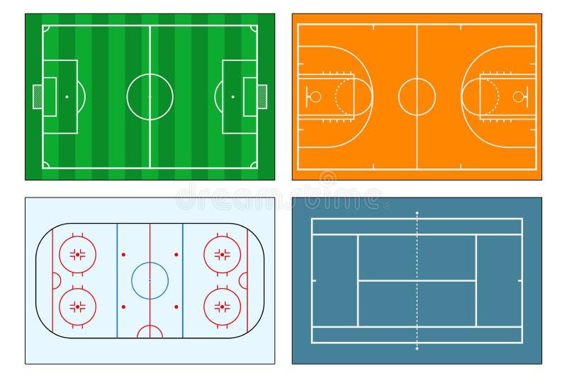 Set sportów place zabaw Piłki nożnej boisko piłkarskie, tenis i boisko do koszykówki, lodowego hokeja lodowisko postać z kreskówk royalty ilustracja