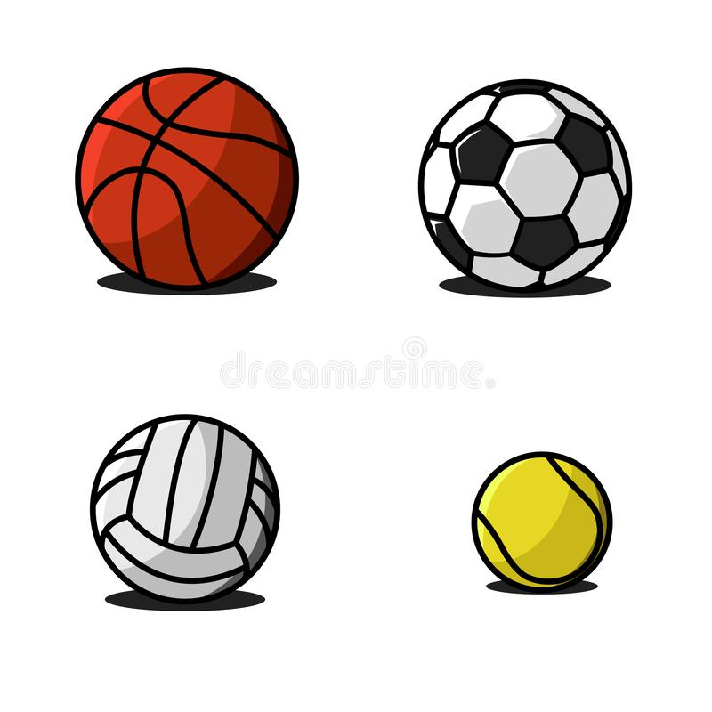 Set sport balls traditional pattern and colors fun colorful vector of icons. Collection soccer, volleyball, basketball, football, vector illustration