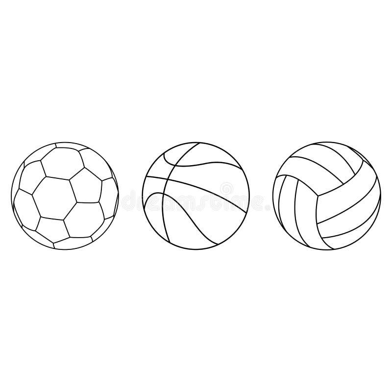 Set sport balowa wektorowa kolekcja isoated na białym tle również zwrócić corel ilustracji wektora ilustracja wektor