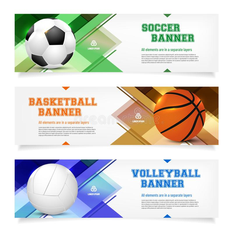 Set of sport banner templates with ball and sample text royalty free illustration