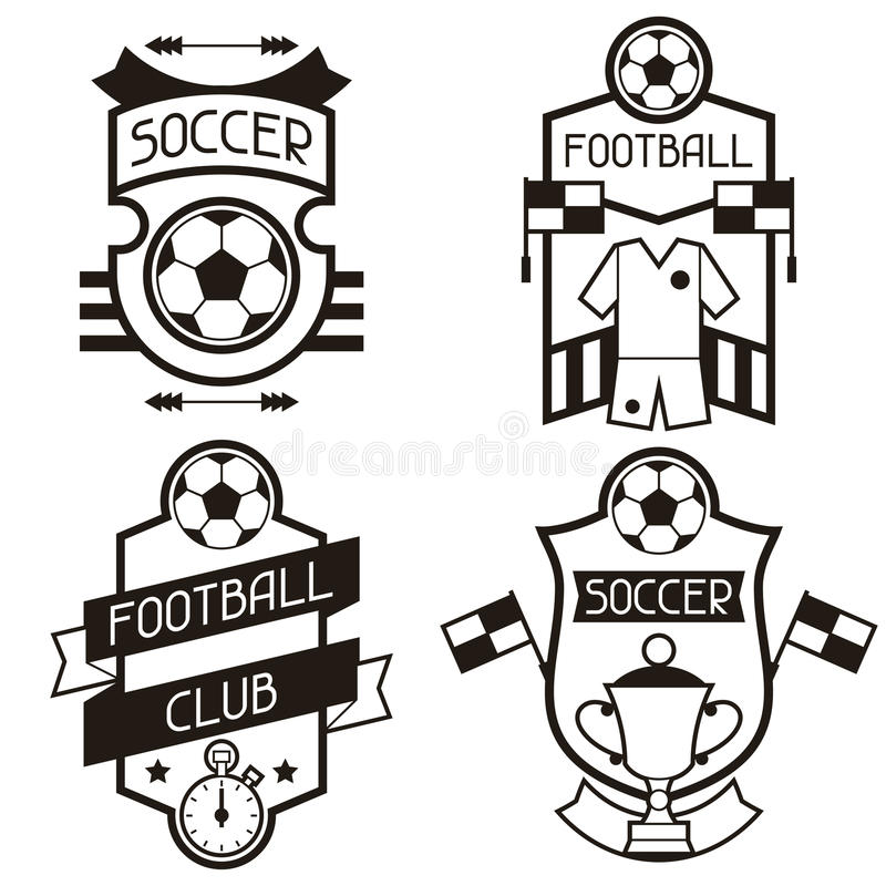 Set sport etykietki z piłka nożna futbolu symbolami royalty ilustracja