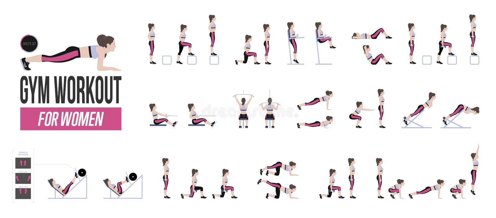Set of sport exercises. Exercises with free weight. Exercises in a gym. Illustration of an active lifestyle. Vector vector illustration