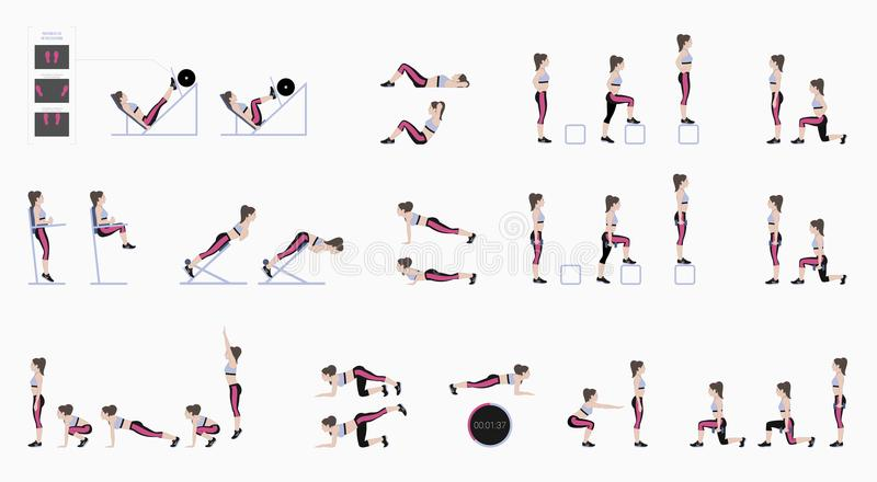 Set of sport exercises. Exercises with free weight. Exercises in a gym. Leg lifts, Squats, Push-Ups, Burpee, Plank, Lunges, Sit-Up. S, Step-Up Hyperextension royalty free illustration