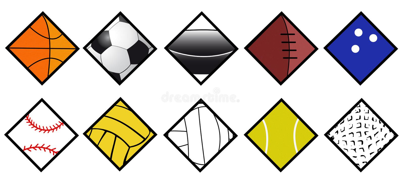 set sport för bollsymbol royaltyfri illustrationer