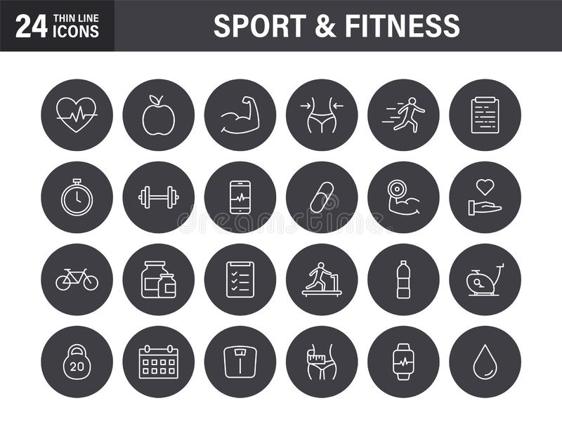Set of Sport and Fitness web icons in line style. Soccer, nutrition, workout, teamwork. Vector illustration royalty free stock photo