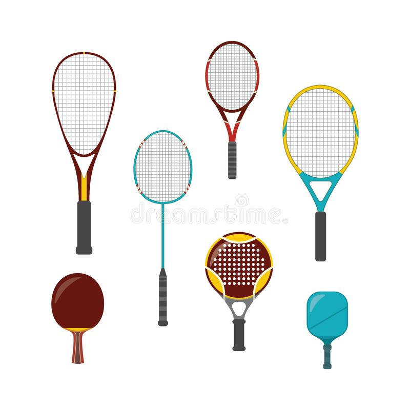 Set of sport game equipment - rackets for badminton, table and big, beach and platform tennis royalty free illustration