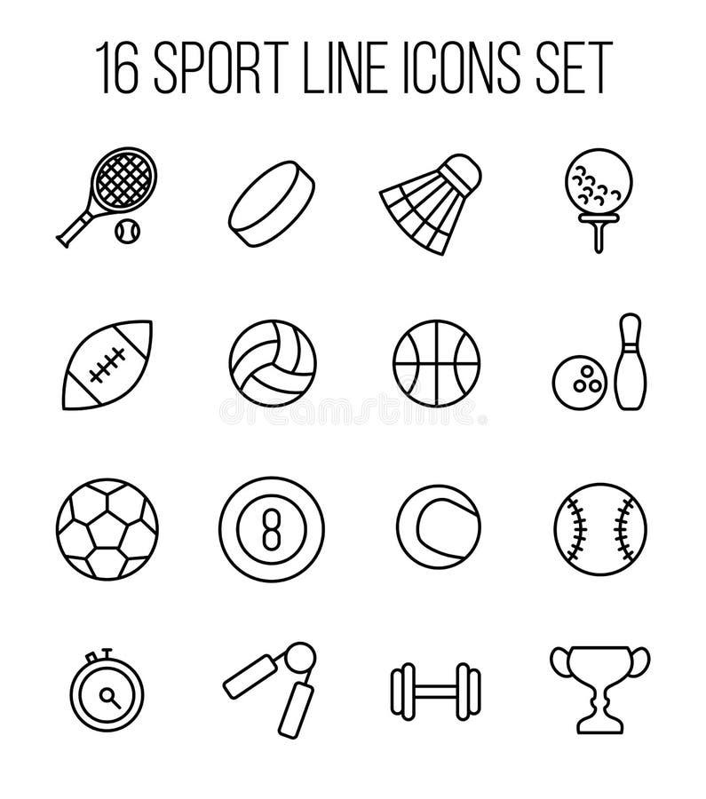 Set sport ikony w nowożytnym cienkim kreskowym stylu ilustracja wektor