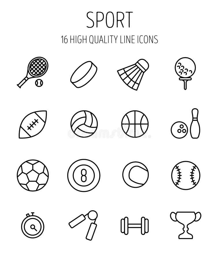 Set sport ikony w nowożytnym cienkim kreskowym stylu royalty ilustracja