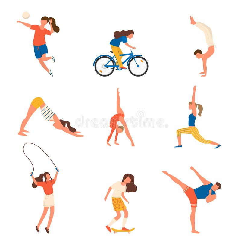 Set of sport people character with different modern equipment vector illustration