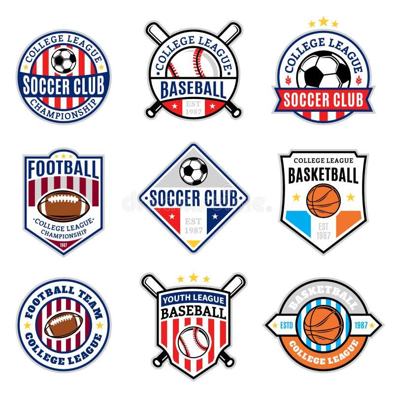 Set Of Sport Team Logo For Four Sport Disciplines Stock Vector ...