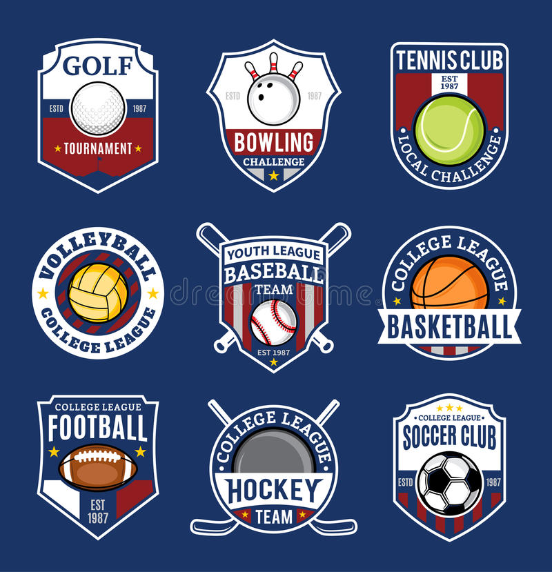Set of sport team logo for nine sport disciplines stock illustration