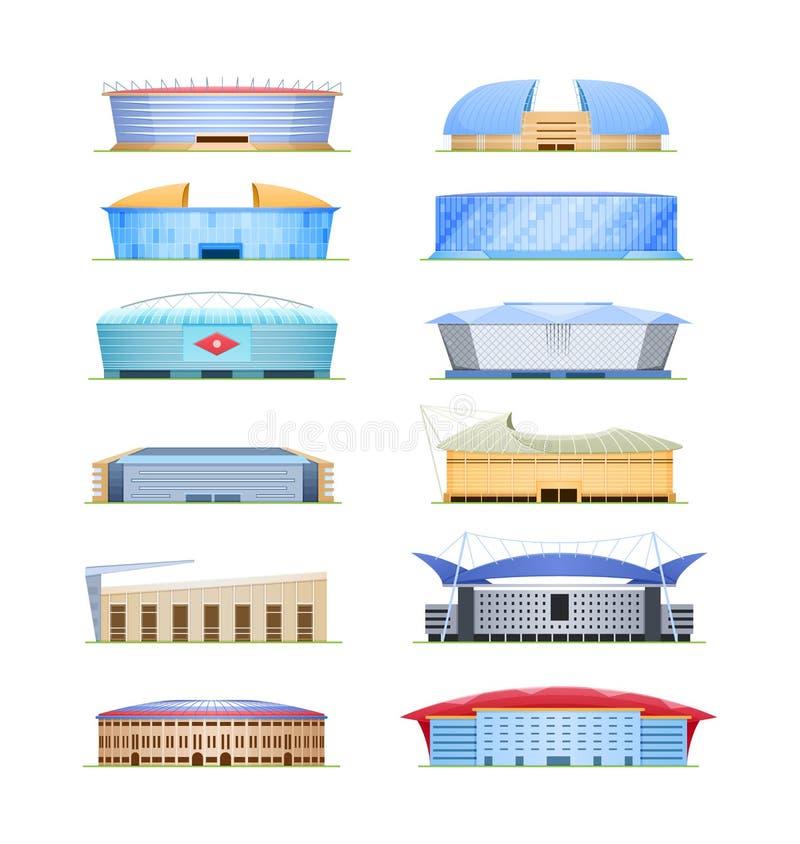 Set sporta stadium dla futbolu, olimpiady, arena sportowa royalty ilustracja