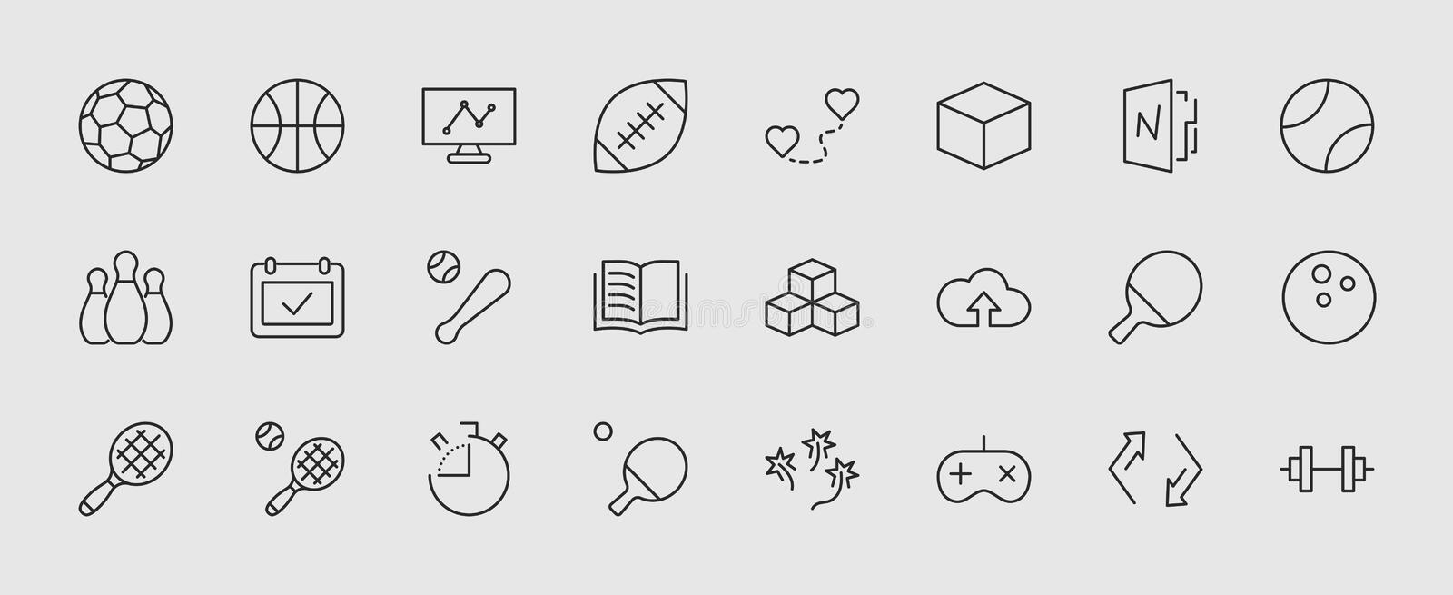 Set of sports balls, hobbies, entertainment vector line icons. It contains symbols of football, basketball, bowling stock illustration