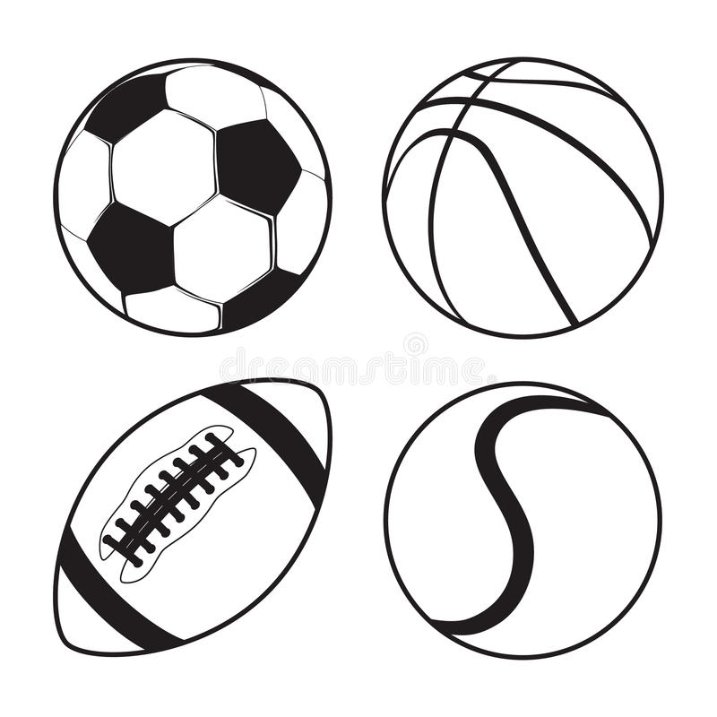 Set of Sports balls Soccer Basketball American Football tennis royalty free illustration