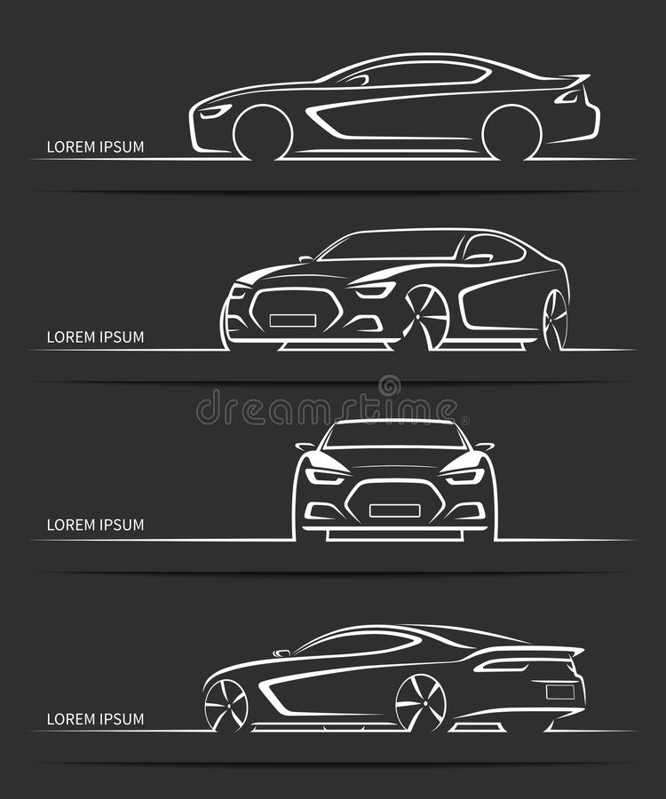 Set of sports car silhouettes. Vector illustration stock illustration
