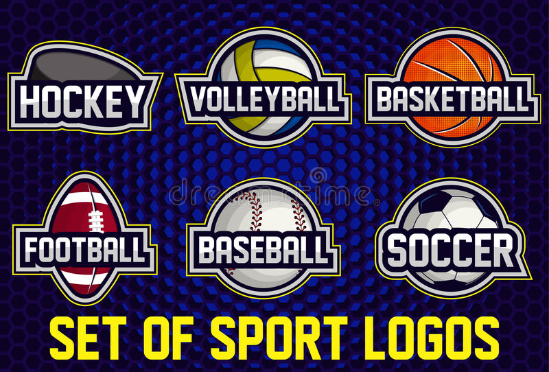 Color Sport Background Football Basketball Hockey Stock: Set Of Sports Logos Soccer, American Football, Volleyball