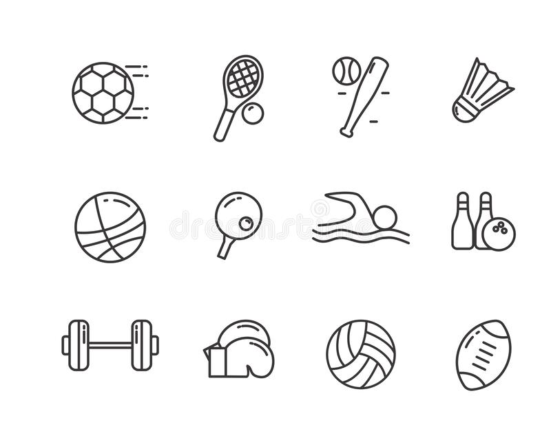 Set of sports related vector illustration with simple line design. Suitable for icon or doodle stock illustration