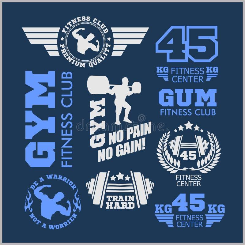 Set sporty i sprawność fizyczna logo Gym logotypy Sportowe etykietek odznaki ilustracja wektor