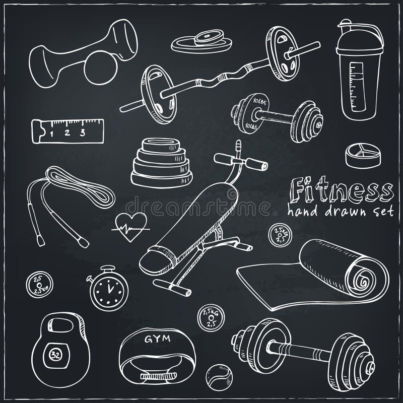 Set sprawności fizycznej bodybuilding dieta i opieka zdrowotna kreślimy ikony ilustracja wektor