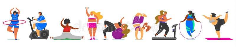 Set sprawno?ci fizycznej kobieta Zdrowie sport w klubie Śliczny Plus rozmiar Grube dziewczyny robi ćwiczeniom, biega na symulanci ilustracji