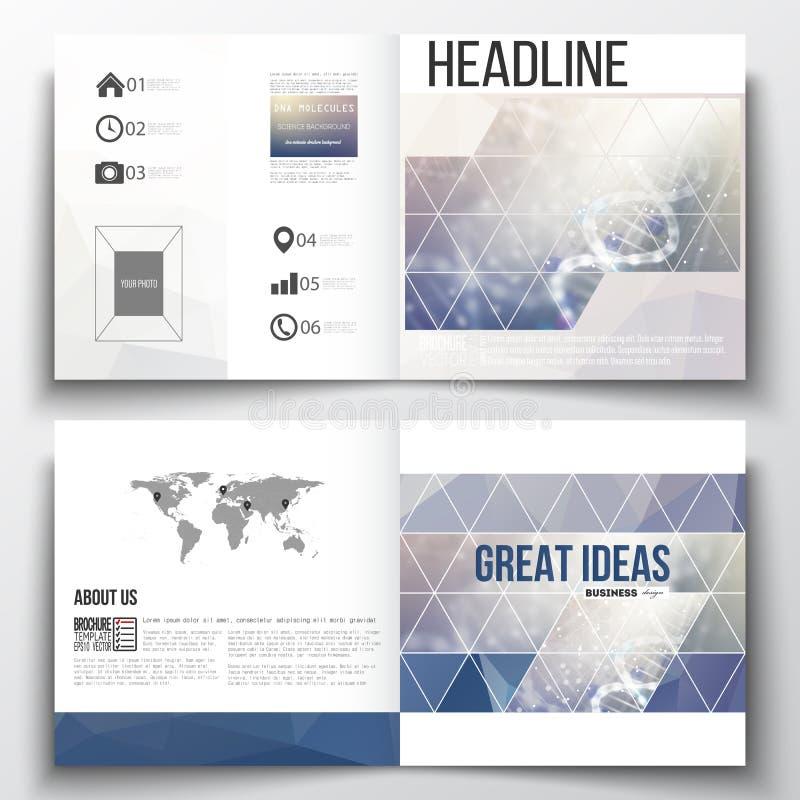 Set sprawozdanie roczne biznesowi szablony dla broszurki, magazynu, ulotki lub broszury, DNA molekuły struktura na błękicie royalty ilustracja