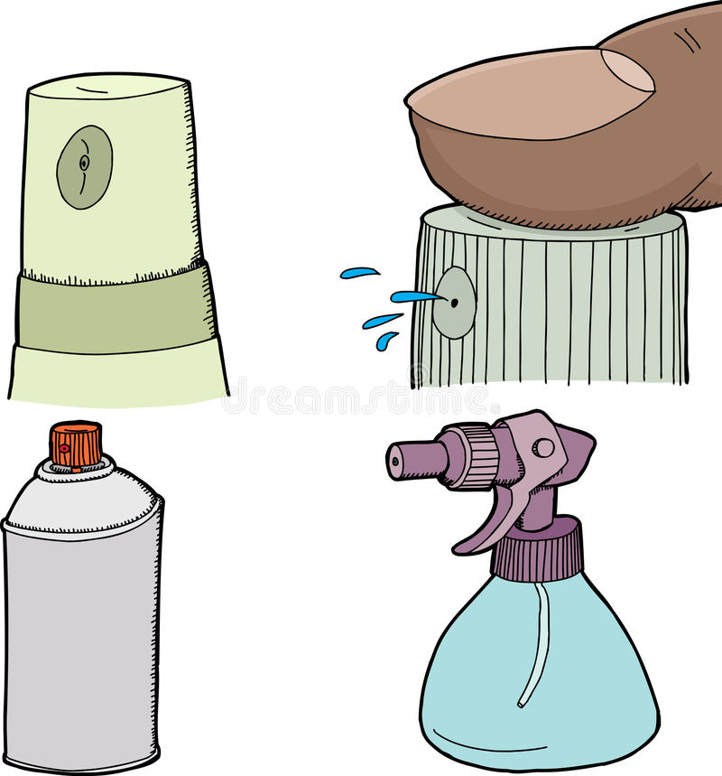 Set of Spray Bottles stock illustration