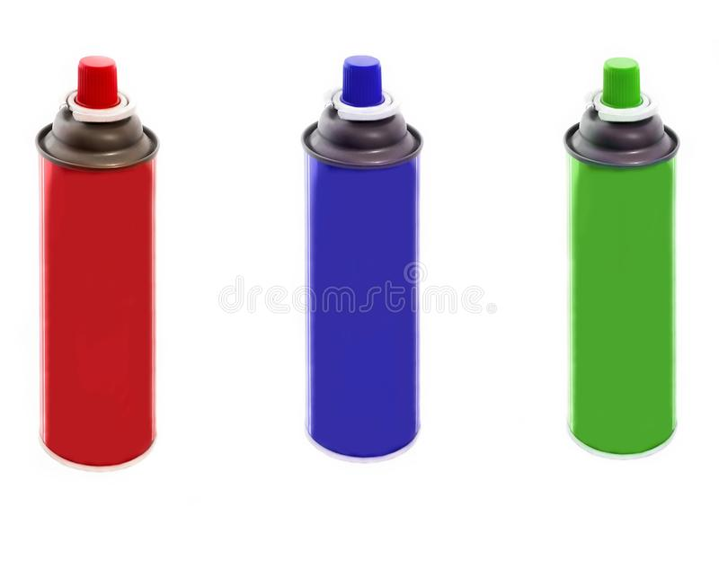 Set of spray paint cans different colors isolated on white background royalty free stock image