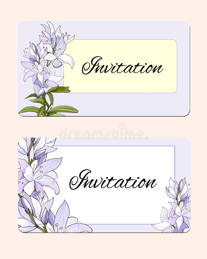 Set of spring cards with delicate flowers. Vector illustration of pink and white flowers. Gentle postcards stock illustration