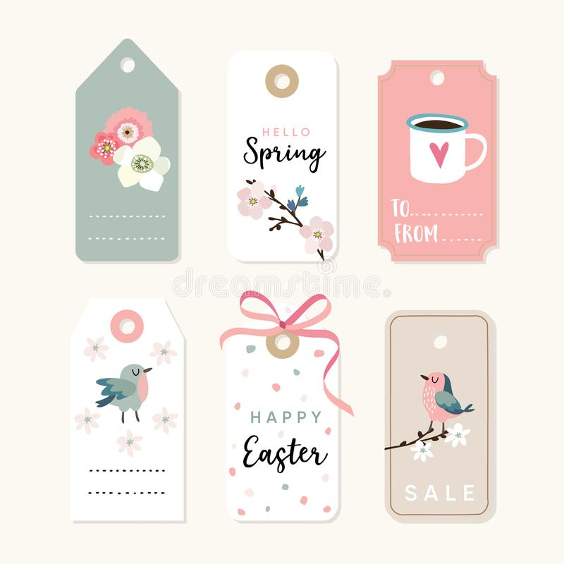 Set of spring, Easter gift tags and labels with flowers, cherry blossoms, birds and pink ribbon. Isolated vector stock illustration