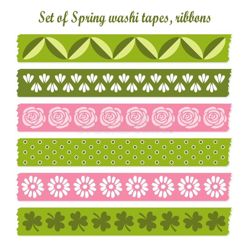 Set of spring easter vintage washi tapes, ribbons, stock illustration
