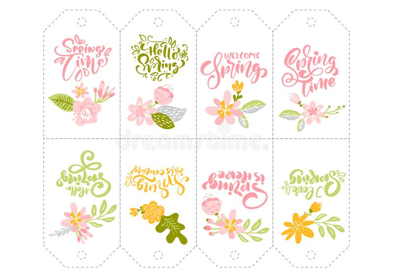Set of Spring flower herbs tags with calligraphic lettering text. Flat abstract Vector garden frame, woman day romantic royalty free illustration