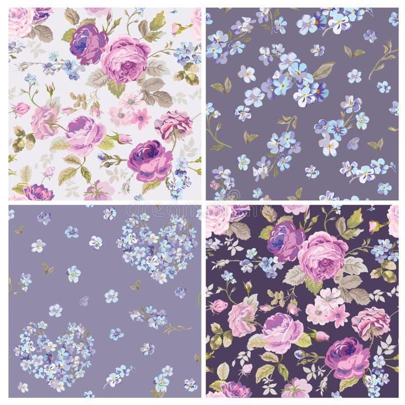 Set of Spring Flowers Backgrounds stock illustration