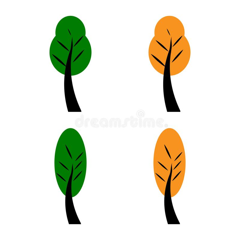 Set of spring green and yellow autumn trees. Flat style vector illustration