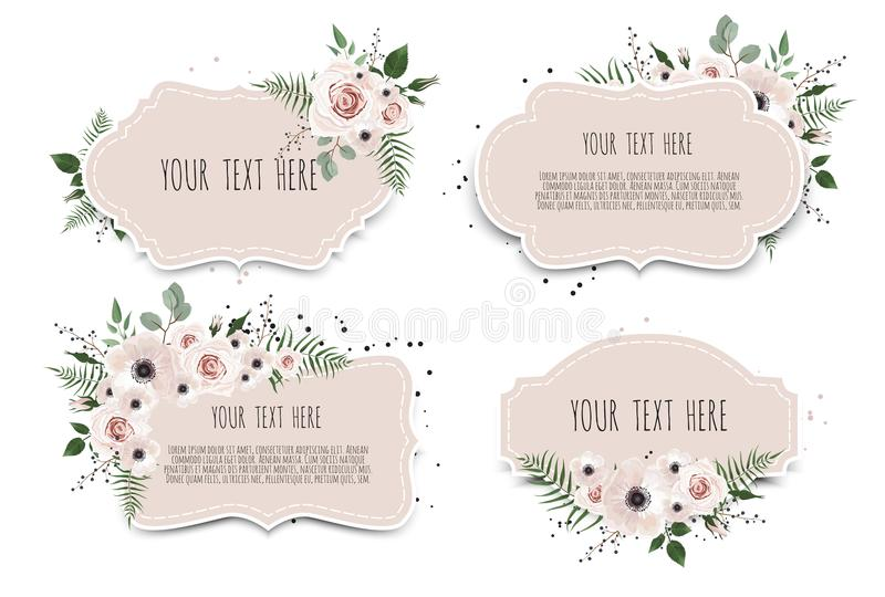 Set Spring sale background with beautiful flowers vector illustration