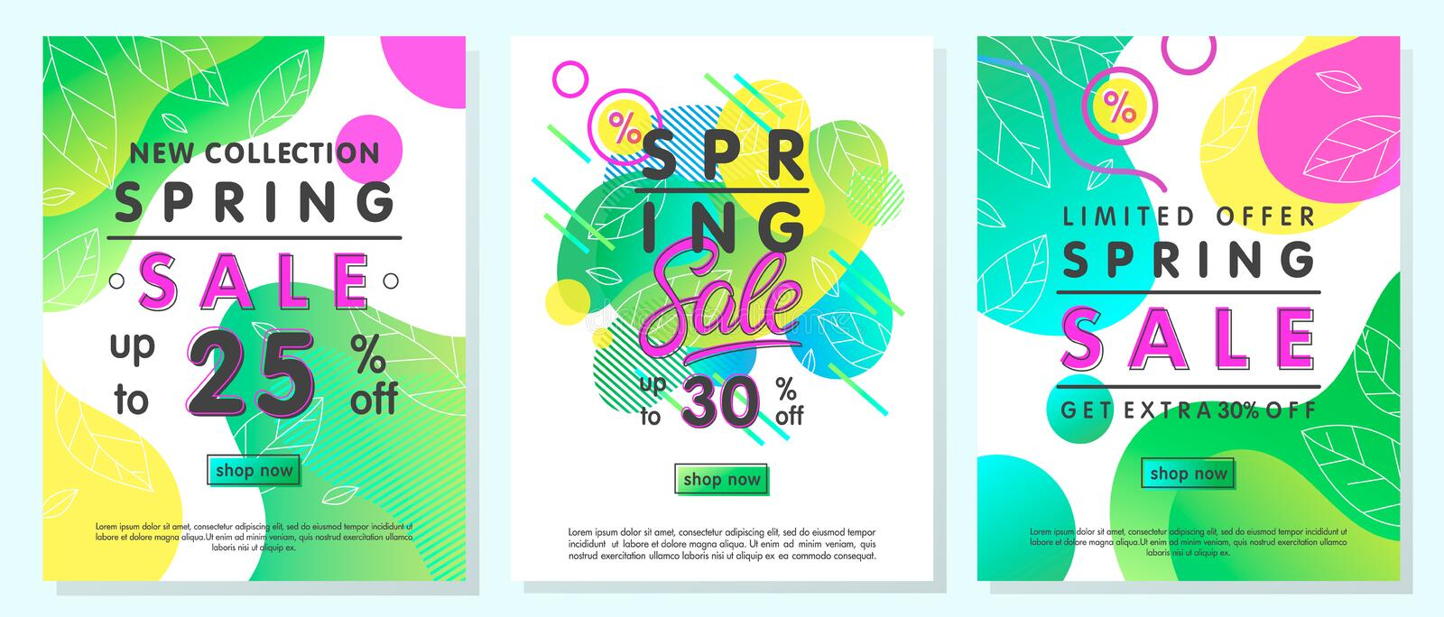 Set of spring special offer banners. Trendy templates with gradient backgrounds,fluid shapes and geometric elements.Sale posters perfect for prints, flyers stock image