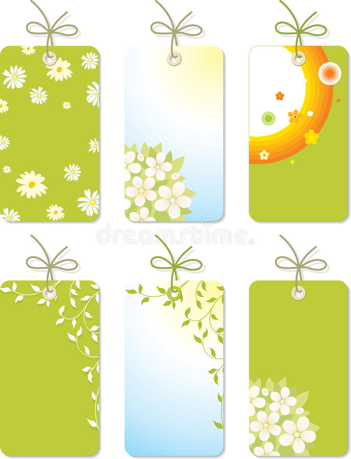Set of spring tags