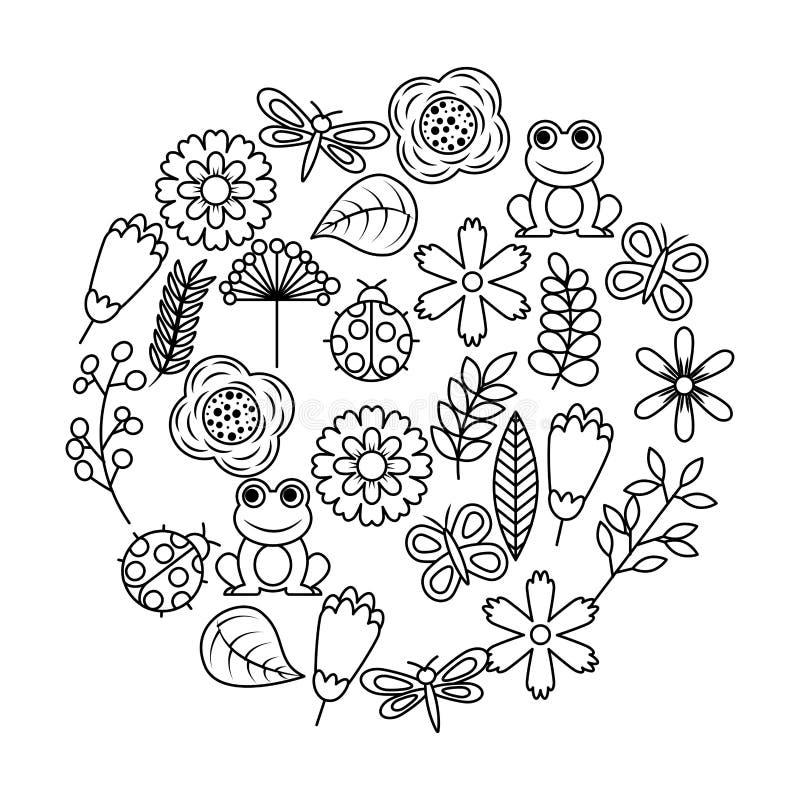 Set of spring theme nature flowers love birds butterflies ladybugs frog dragonfly. Vector illustration outline image vector illustration