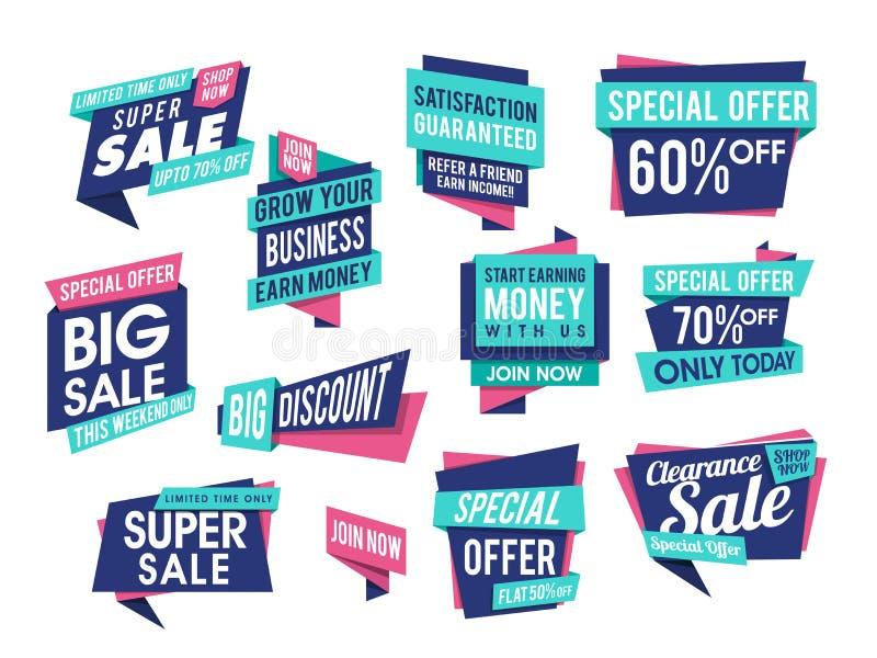 Set sprzedaż majchery, Oznacza lub etykietek projekt royalty ilustracja