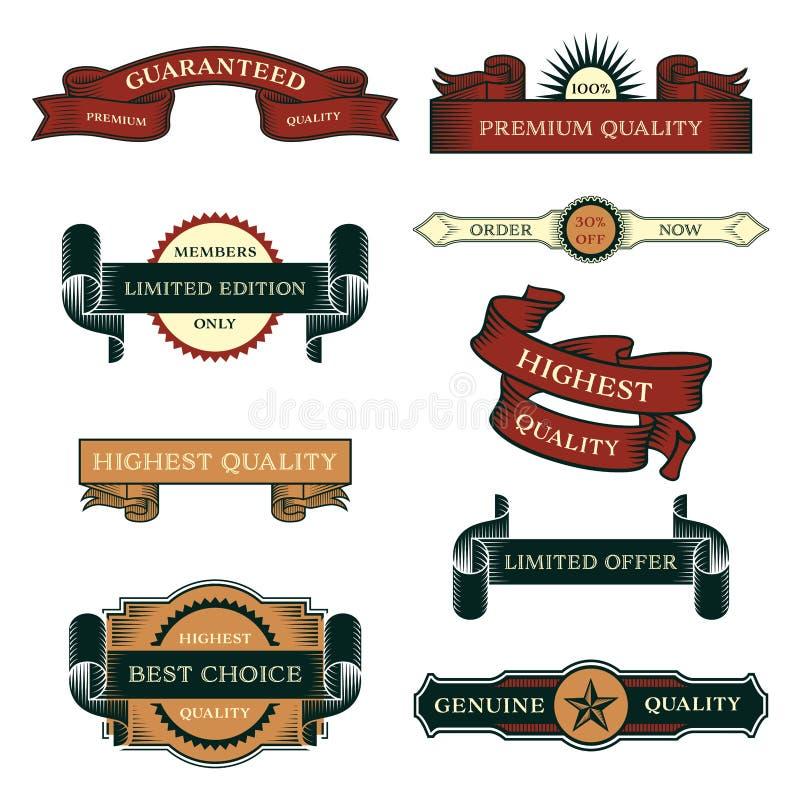 Set sprzedaż rocznika etykietki royalty ilustracja