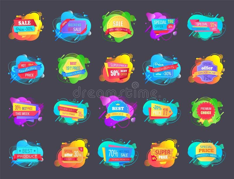 Set sprzedaży etykietek ciecza Abstrakcjonistyczni kształty Odizolowywający ilustracji
