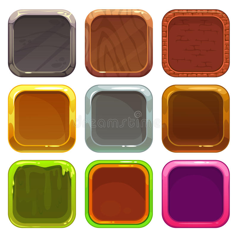 Set of square app icons royalty free illustration
