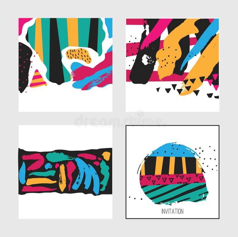 Set With Square Bright Cards Drawn In Graphic Style With Hand Drawn ...