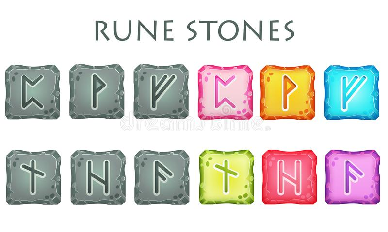 Set of Square Colorful and Grey Rune Stones. Set of vector square colorful and grey stones with rune symbols. Perfect as game icons, elements stock illustration