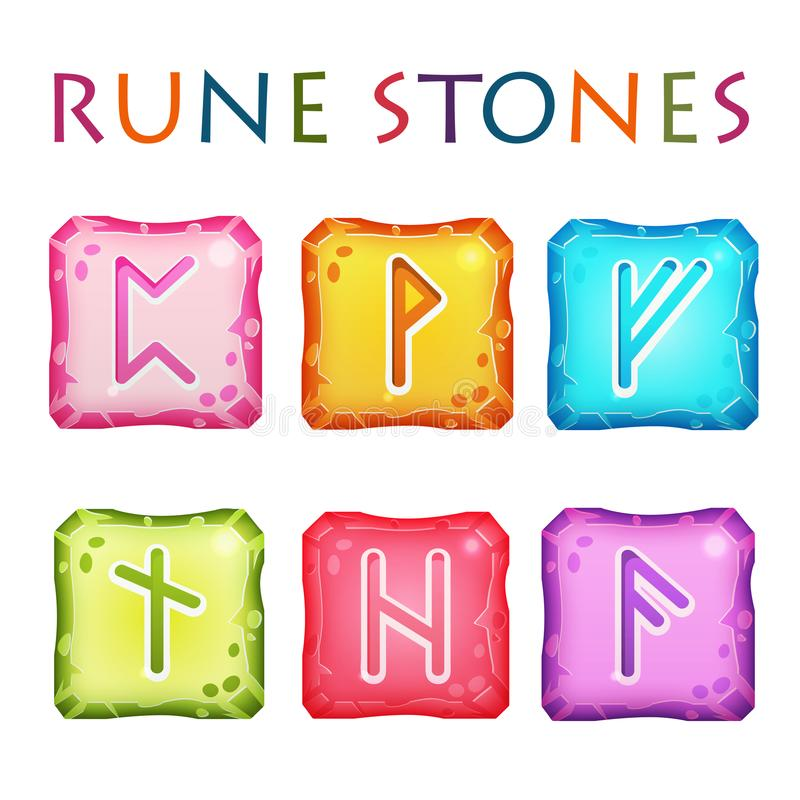 Set of Square Colorful Rune Stones. Set of vector square colorful stones with rune symbols. Perfect as game icons, elements. Isolated on white background royalty free illustration