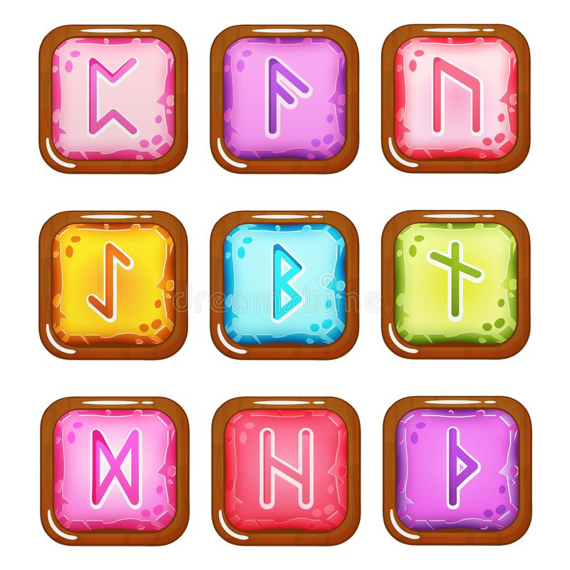 Set of Square Colorful Rune Stones. Set of vector square colorful stones with rune symbols in wooden frame. Perfect as game icons, elements. Isolated on white vector illustration